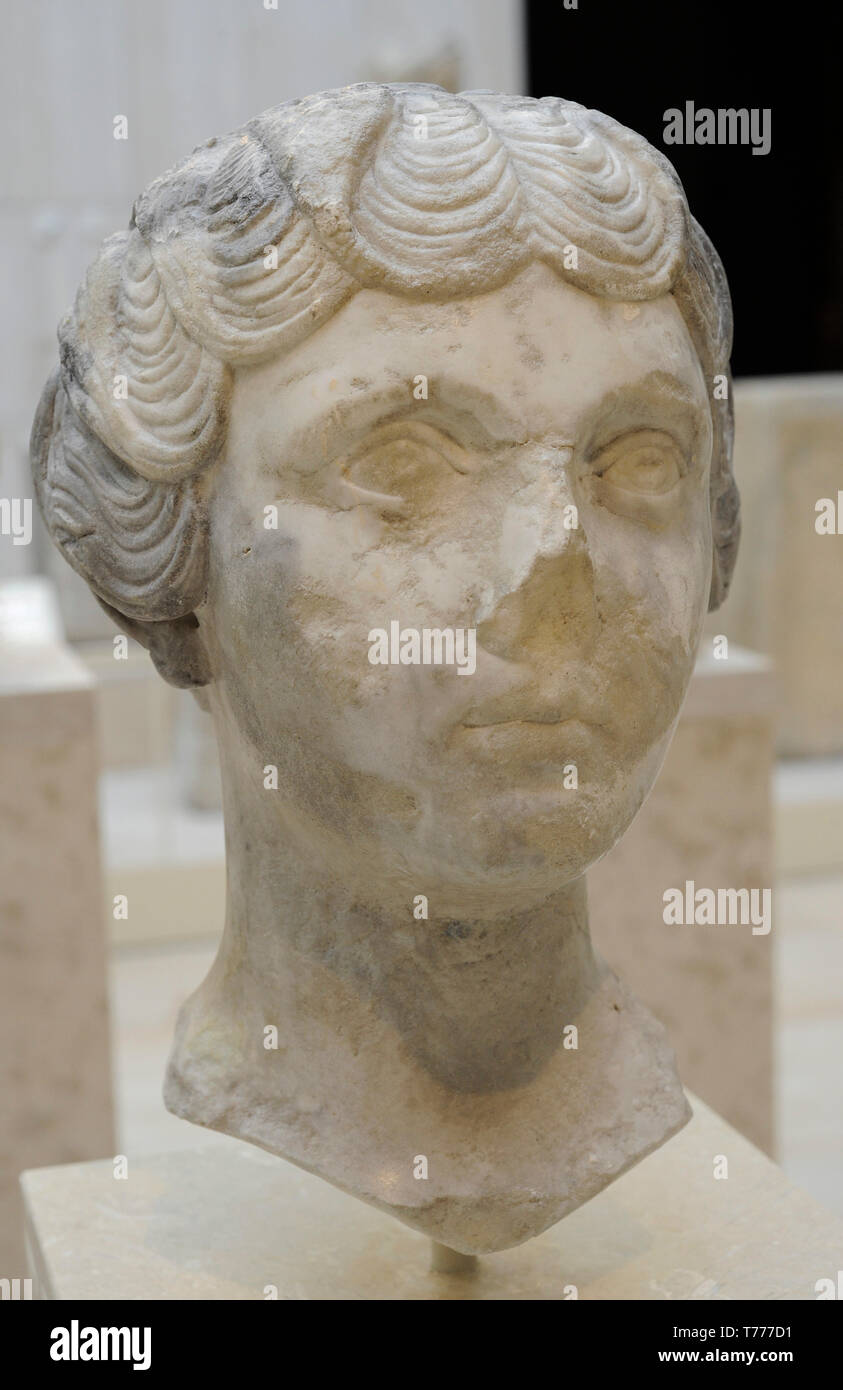 Faustina the Younger (Faustina Minor) (125/130-175 AD). Roman empress. Nerva-Antonine dynasty. Bust, 147-148 AD. Marble. National Archaeological Museum. Madrid. Spain. - Stock Image