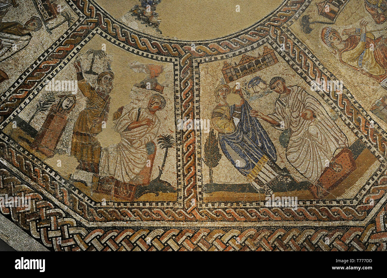Mosaic of the Nine Muses. It depictis the Muses accompanied by great masters of the arts. Detail. 4th century AD. From Arellano (Navarre, Spain). National Archaeological Museum. Madrid. Spain. - Stock Image