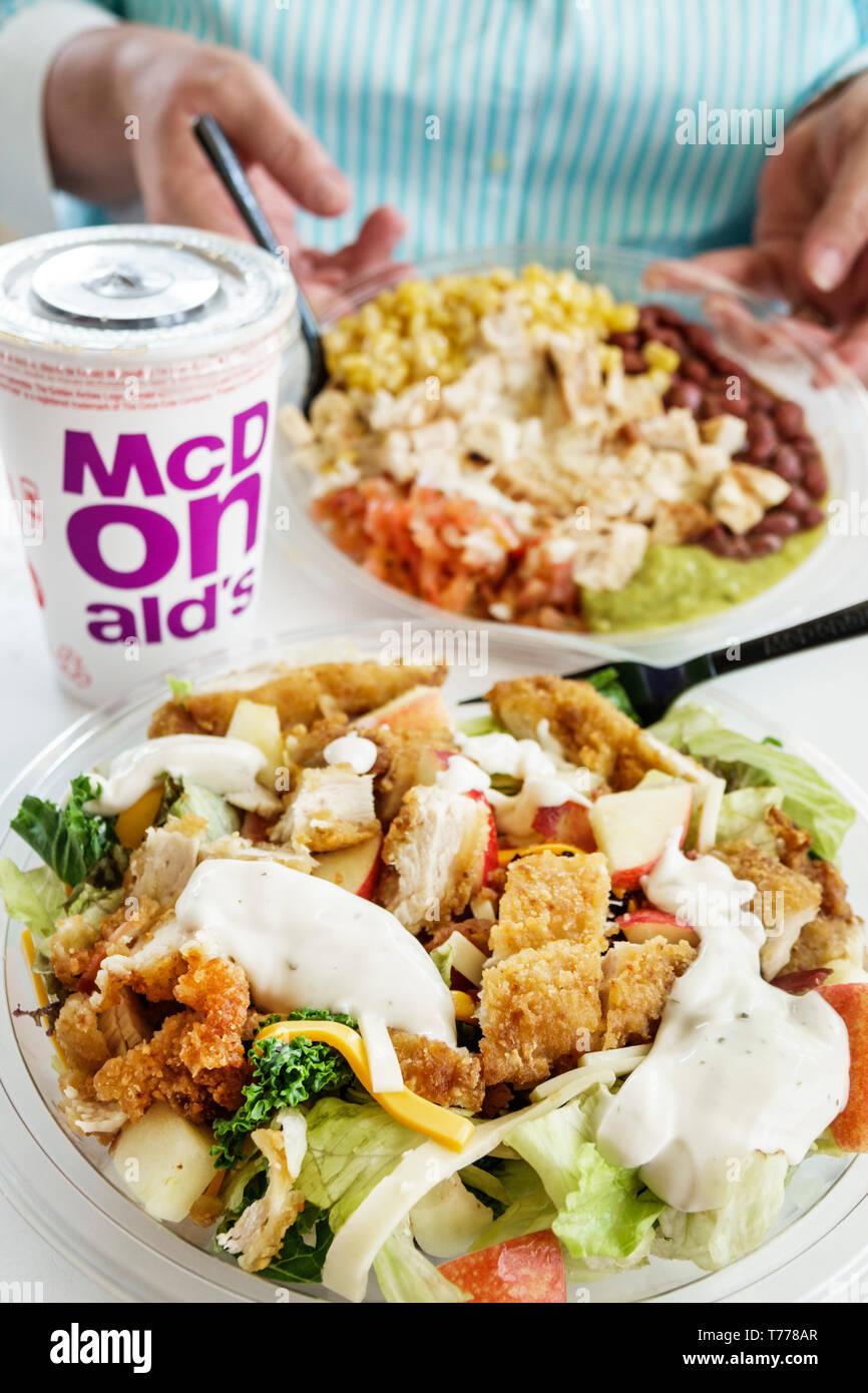 Cartagena Colombia Bocagrande McDonald's hamburgers fast food restaurant inside Crispy chicken salad dressing Stock Photo