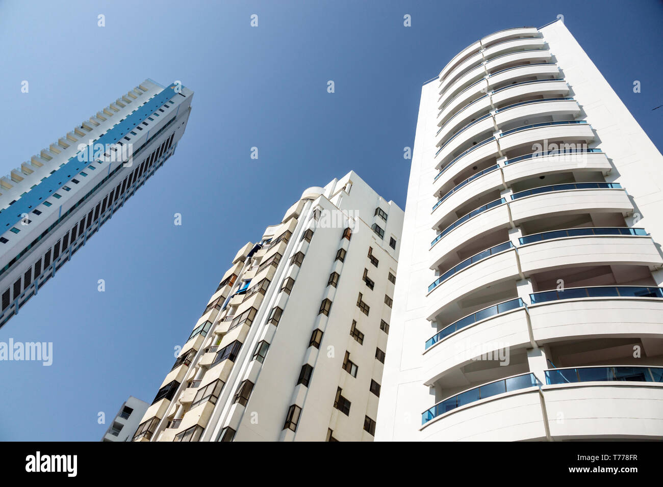 Cartagena Colombia El Laguito tall buildings high rise residential apartments balconies vertical height - Stock Image