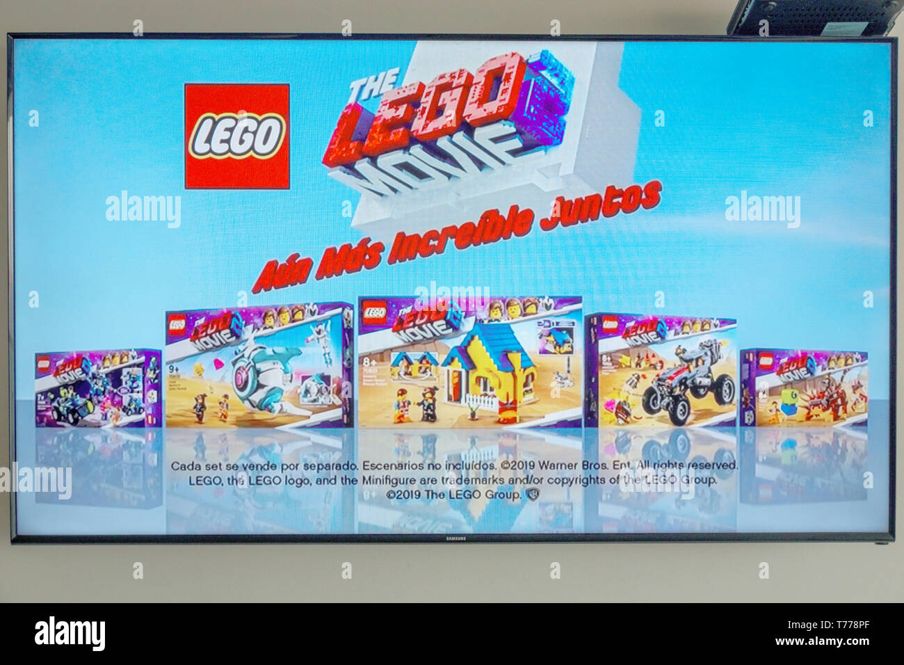 Colombia Cartagena Tv Television Monitor Screen Flat Screen Ad Advertisement Toy Lego Movie Spanish Language Sightseeing Visitors Travel Travel Stock Photo Alamy