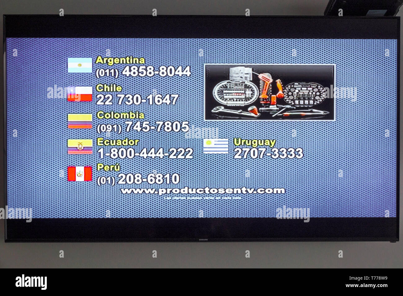 Cartagena Colombia TV television monitor screen flat screen www.productosentv.com marketing shopping channel Latin America telemarketing Stock Photo