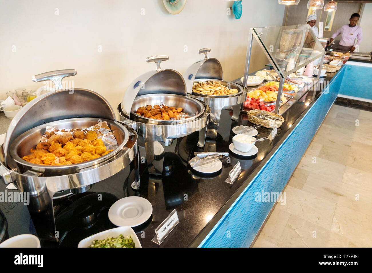 Cartagena Colombia El Laguito Hotel Dann Cartagena hotel restaurant free included breakfast buffet brunch fried potatoes chicken nuggets chafing warmi Stock Photo