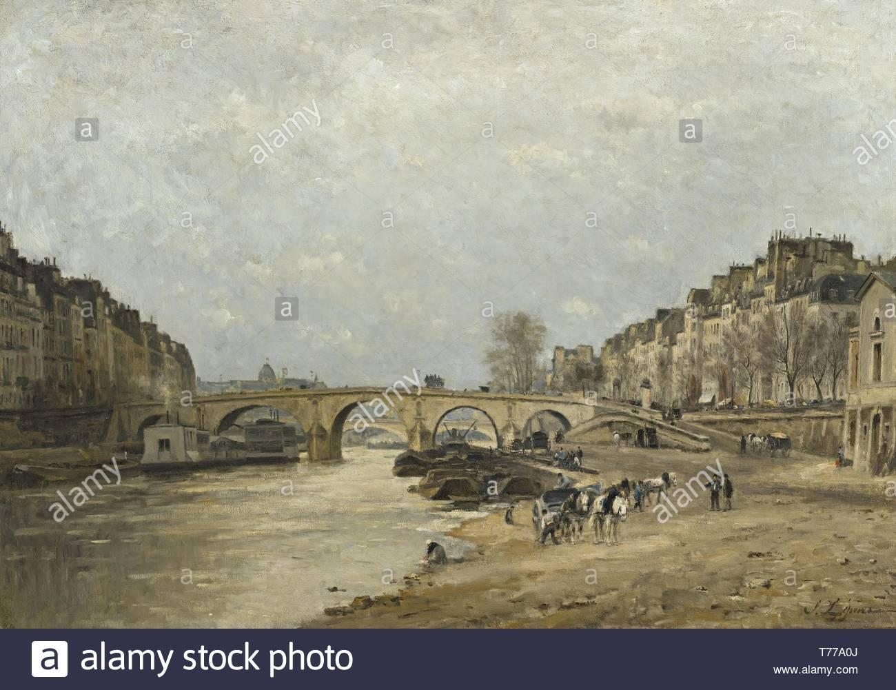 Stanislas Lpine-La Seine Au Pont Marie - Stock Image