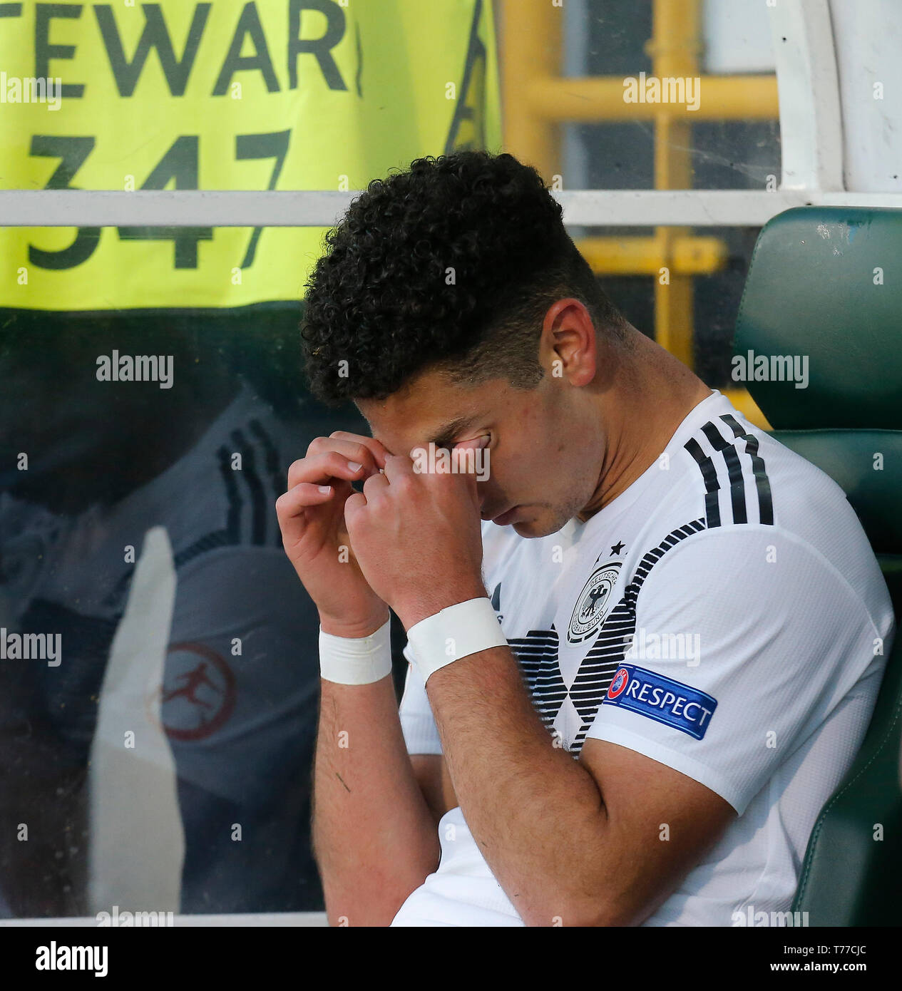 Tallaght Stadium, Dublin, Ireland. 4th May, 2019. UEFA Under 17 European Football Championships, Italy versus Germany; A tearful Kerim Calhanoglu of Germany U17 at the full time whistle Credit: Action Plus Sports/Alamy Live News - Stock Image