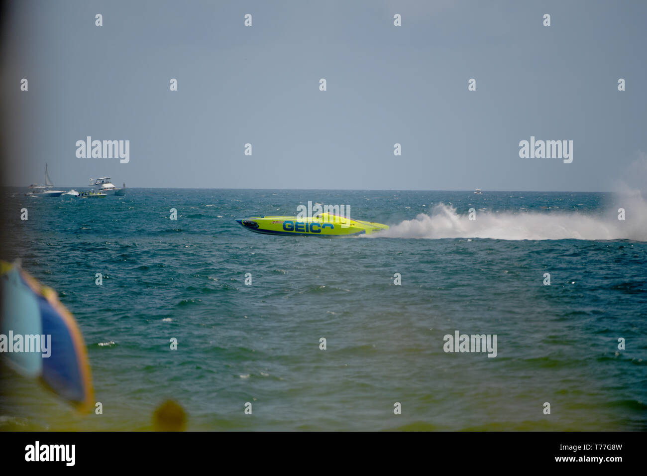 Florida, USA. 04th May, 2019. Geico Boat performs in the Fort Lauderdale Air Show on May 4, 2019 in Fort Lauderdale, Florida   People:  Geico Boat Credit: Storms Media Group/Alamy Live News Stock Photo