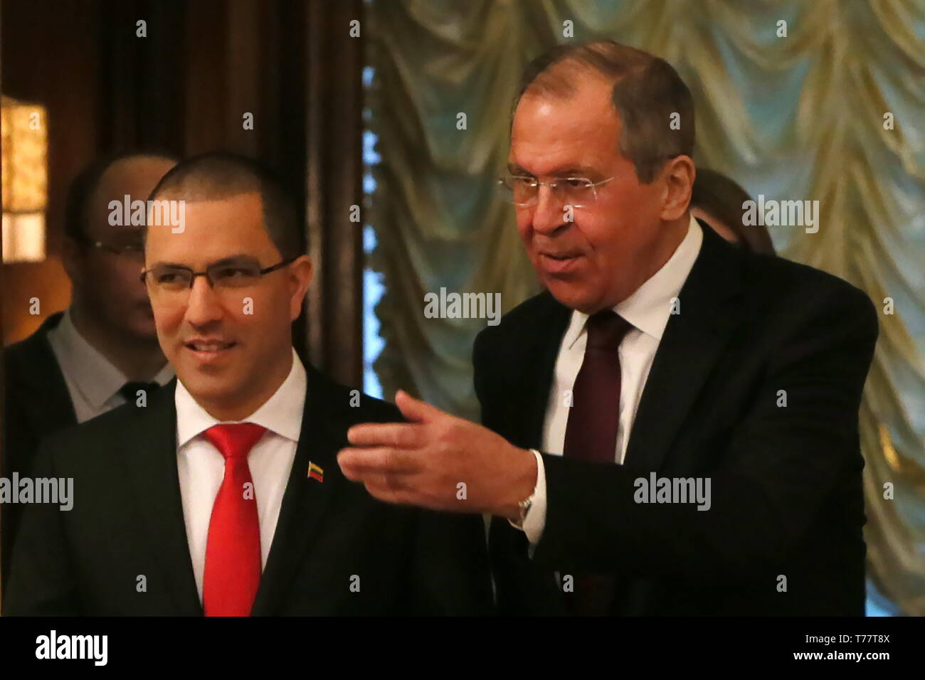 Moscow, Russia. 05th May, 2019. MOSCOW, RUSSIA - MAY 5, 2019: The Foreign Minister of the Bolivarian Republic of Venezuela Jorge Arreaza (L) and the Minister of Foreign Affairs of Russia Sergei Lavrov during a meeting at the Reception House of the Ministry of Foreign Affairs of Russia. Vladimir Gerdo/TASS Credit: ITAR-TASS News Agency/Alamy Live News - Stock Image