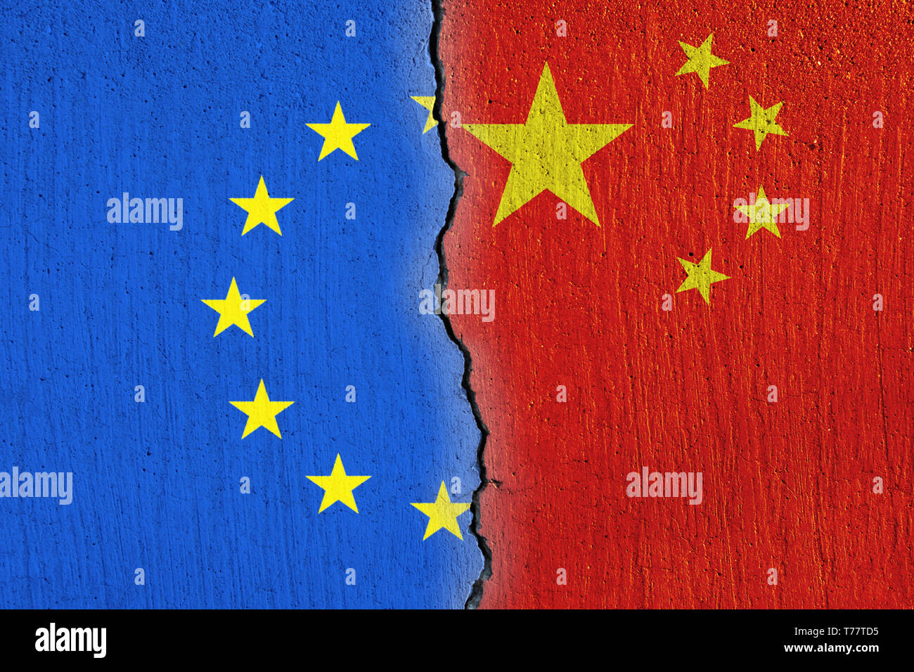 European Union flag  and Chinese flag painted on cracked wall , EU and China relations Stock Photo