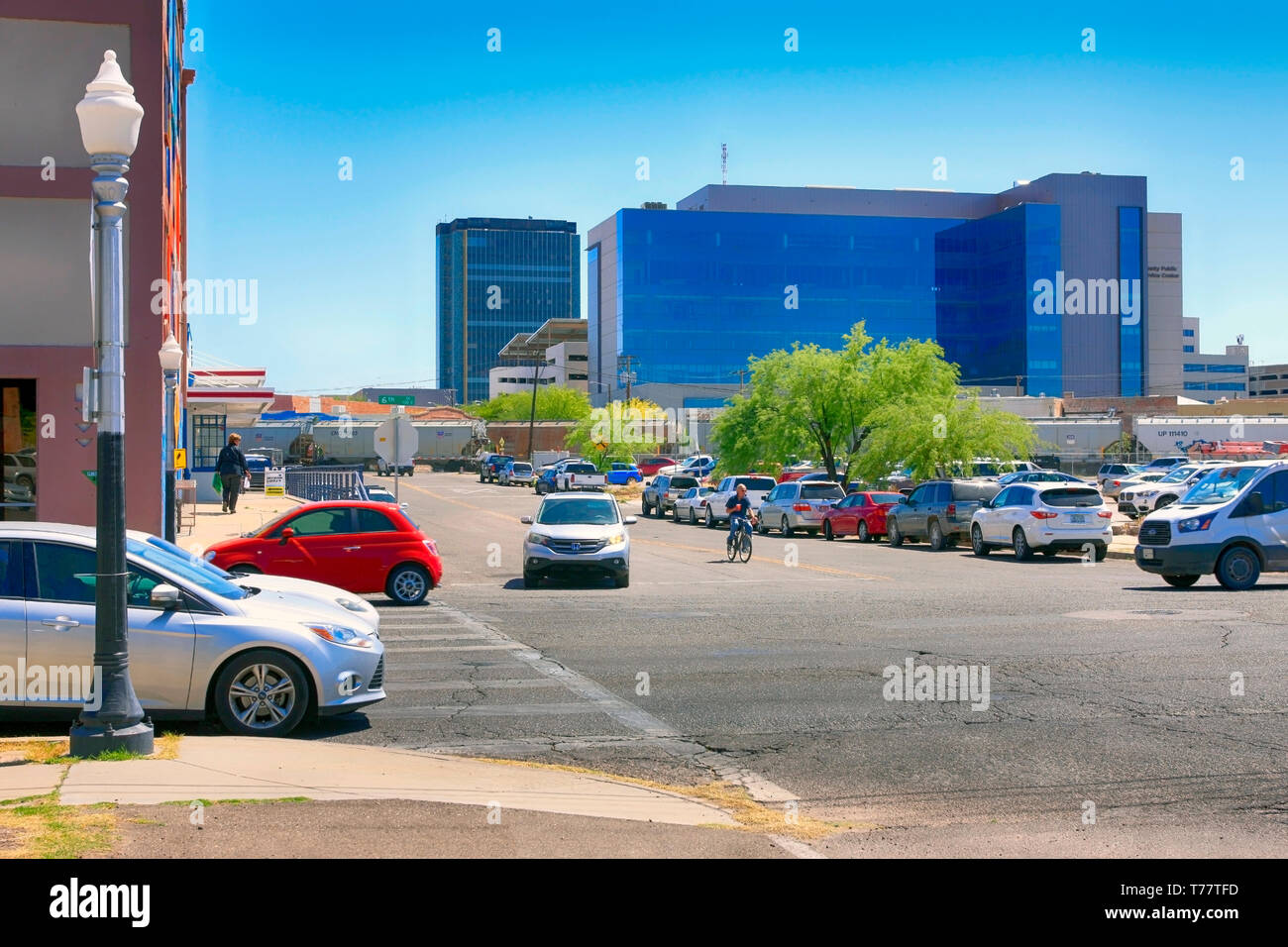 Urban regeneration of old warehouses and vacant land in the arts district of N Downtown Tucson AZ - Stock Image