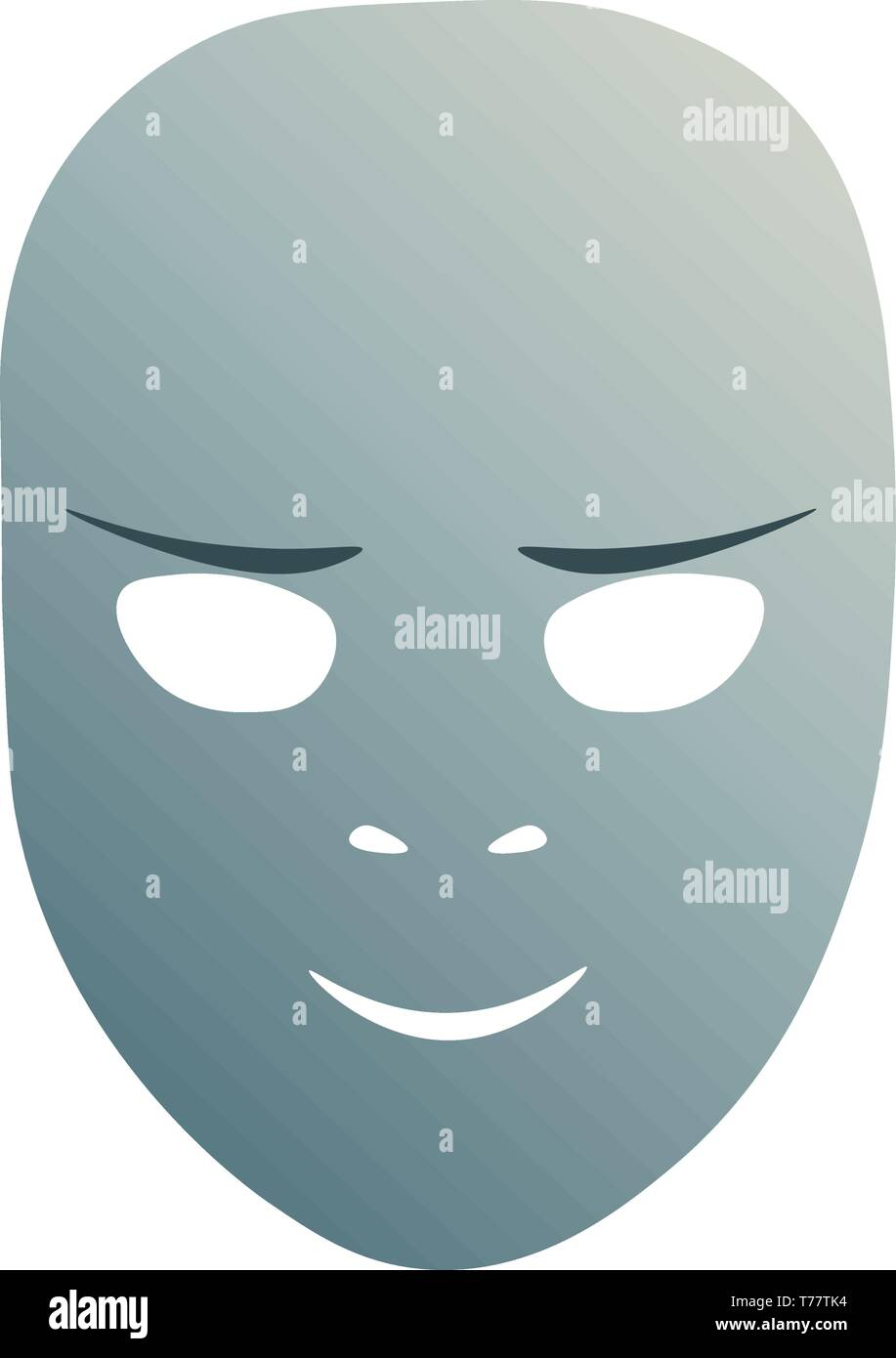 Theatrical mask with cunning emotion. Vector illustration. Blue mask with gradient isolated on white background. - Stock Image