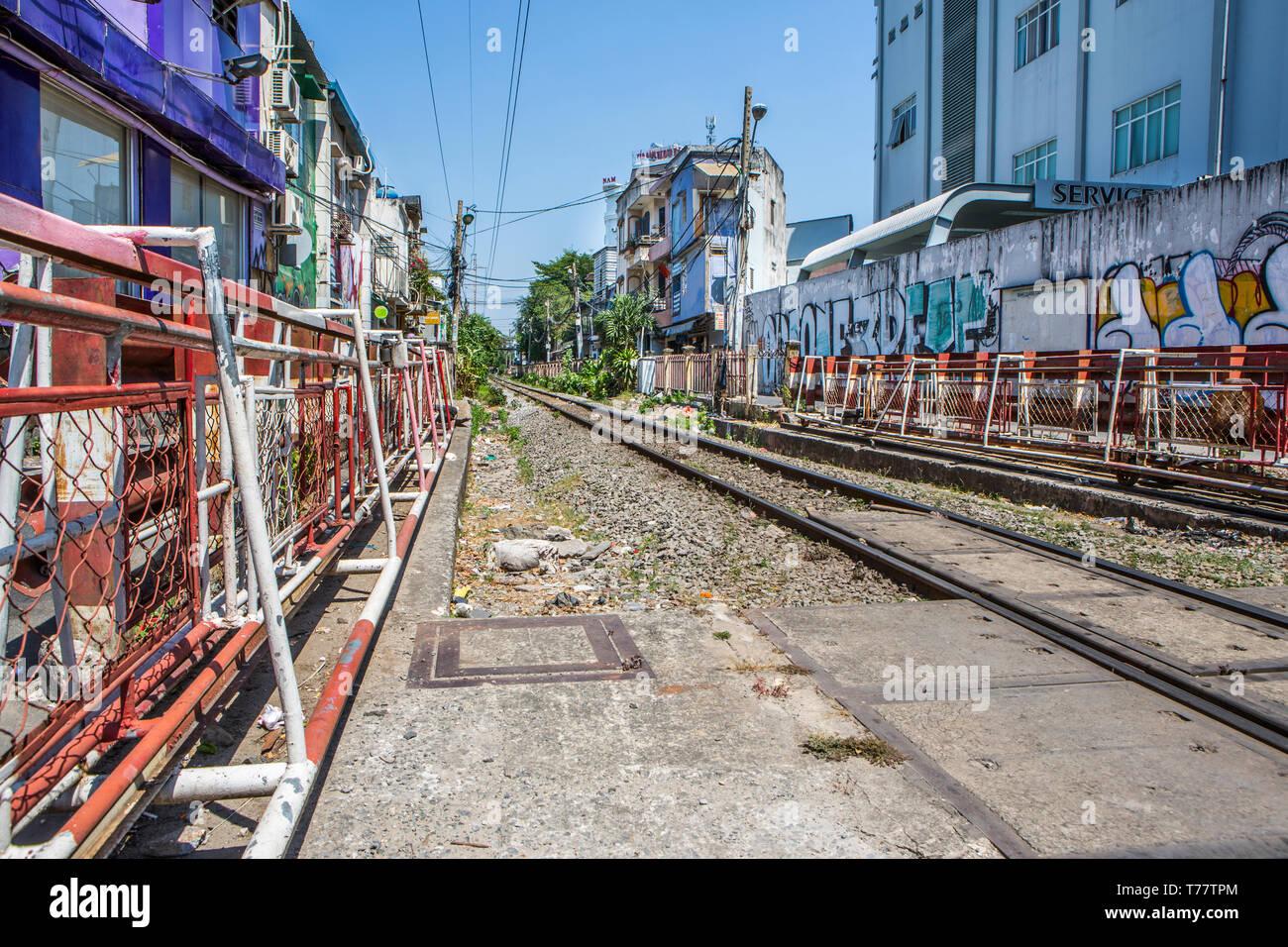 Railway lines in Ho Chi Minh City, Vietnam. - Stock Image