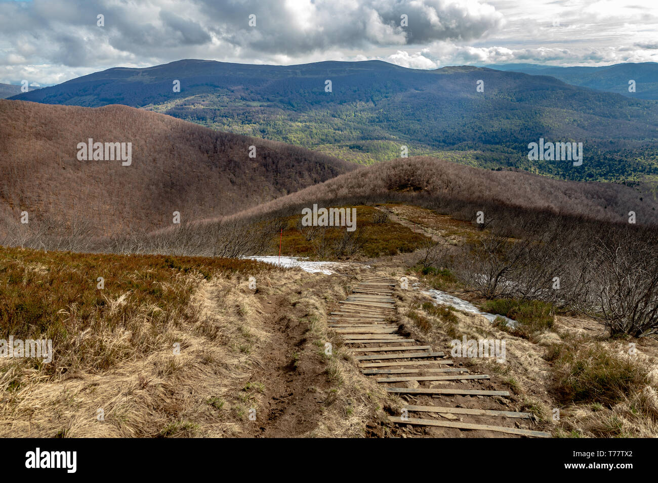 Empty trail in the mountains of central europe. A path leading high in the mountains. spring time. - Stock Image