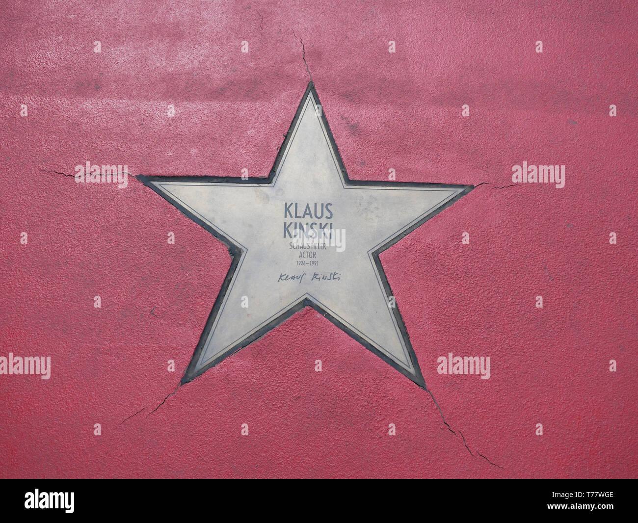 BERLIN, GERMANY - MAY 4, 2019: Star of Klaus Kinski At Boulevard der Stars, Walk of Fame In Berlin, Germany Stock Photo