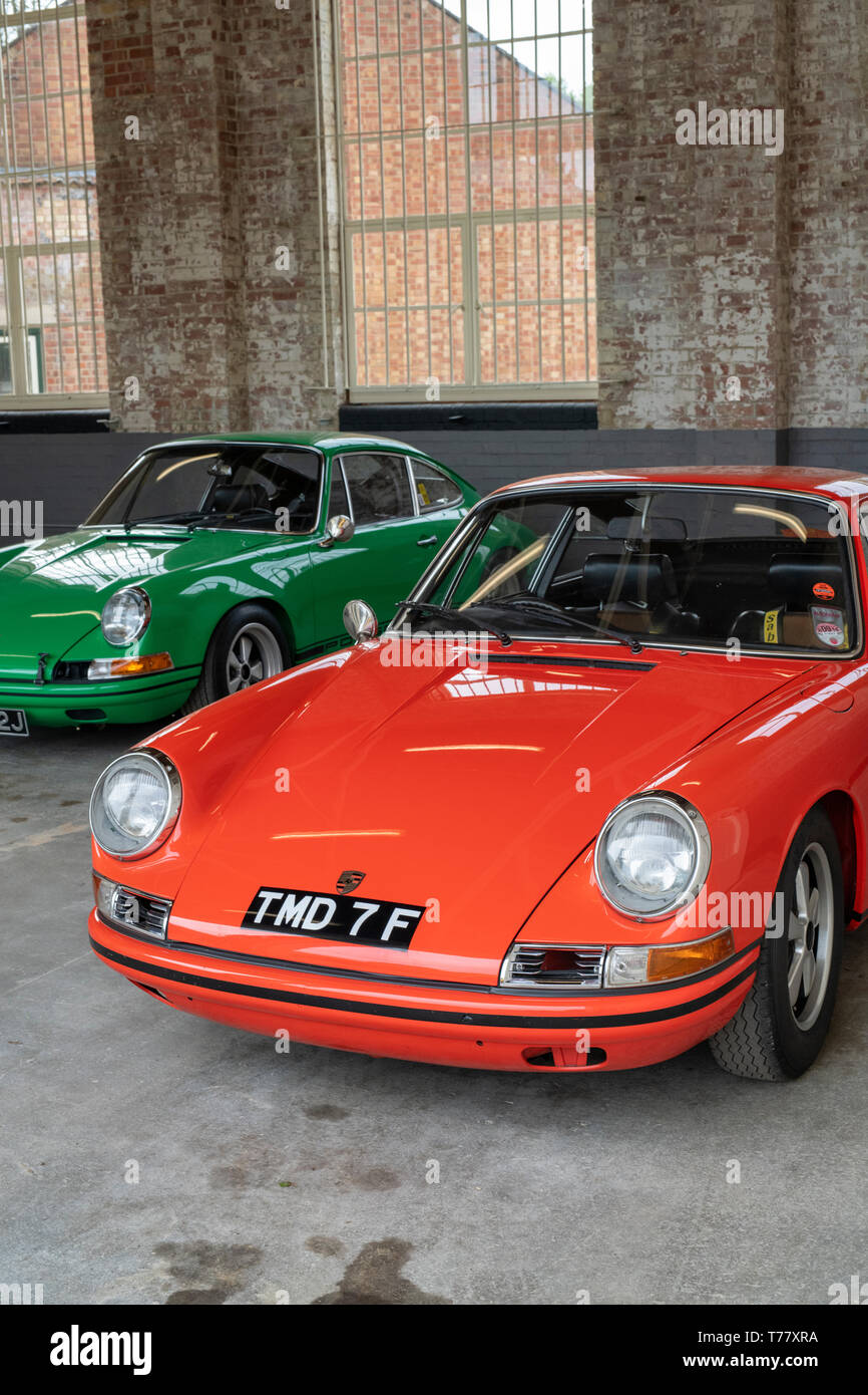 Vintage 1968 Porsche 911 car at Bicester heritage centre 'Drive it Day'. Bicester, Oxfordshire, England Stock Photo