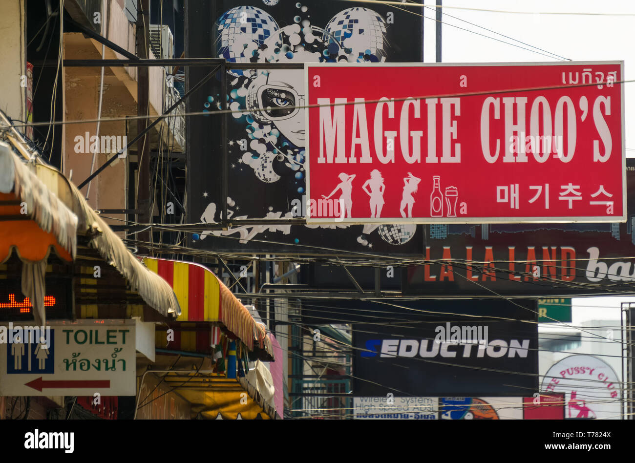 PATTAYA,THAILAND - APRIL 11,2019:Soi 6 This is the sign of Maggie