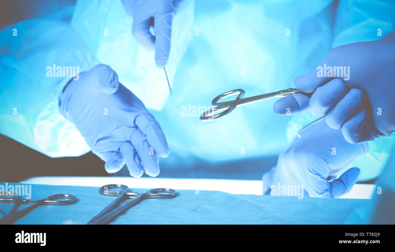 Surgeons hands holding surgical scissors and passing surgical equipment, close-up. Health care and veterinary concept. - Stock Image