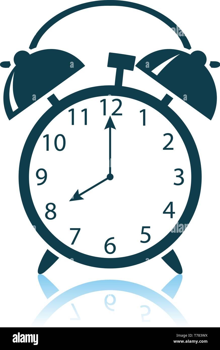 Alarm Clock Icon  Shadow Reflection Design  Vector