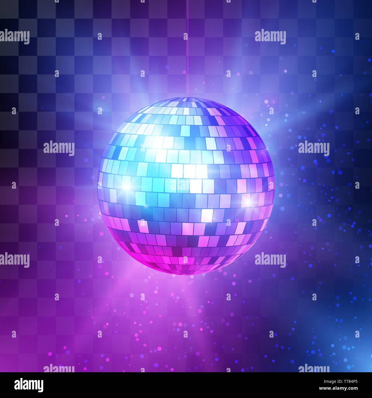 Disco Ball With Bright Rays And Bokeh Music And Dance Night Party