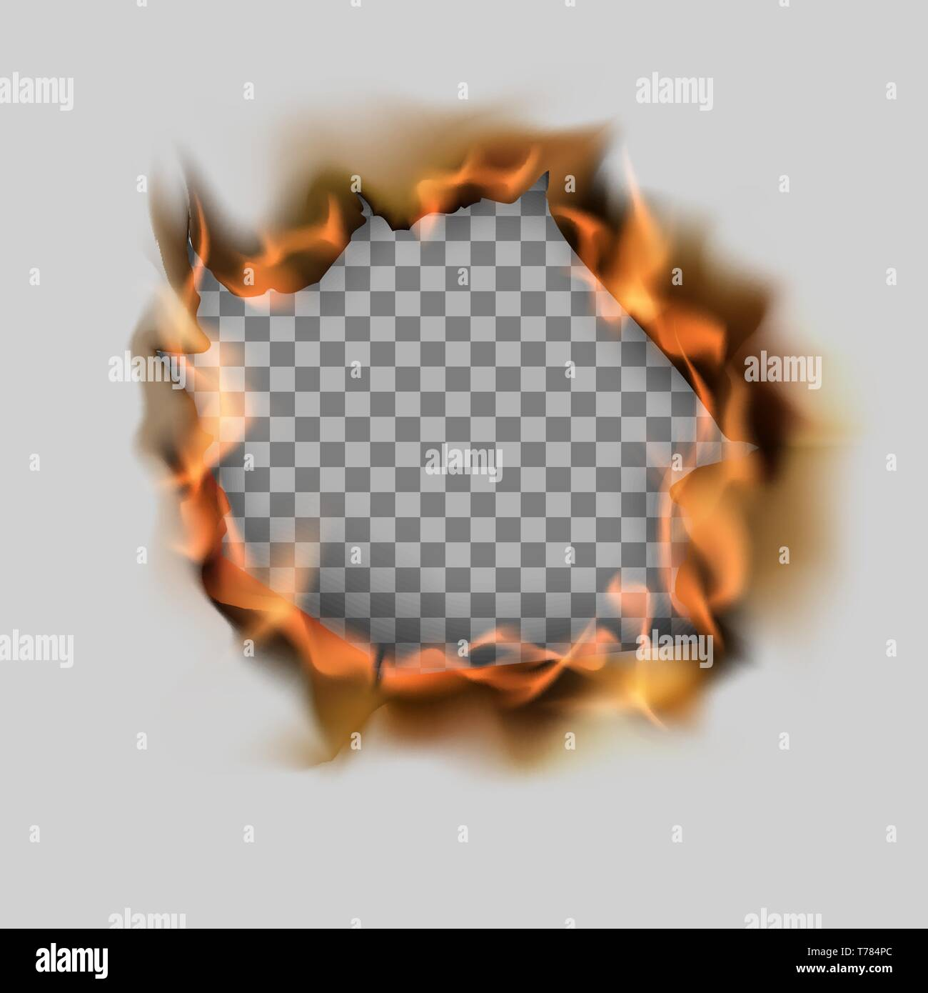 Burning torn hole in paper sheet and flame. Vector illustration on transparent background - Stock Vector