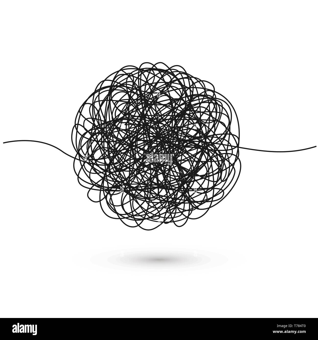 Hand drawn tangle of tangled thread. Sketch spherical abstract scribble shape. Chaotic black line doodle. Vector illustration - Stock Image