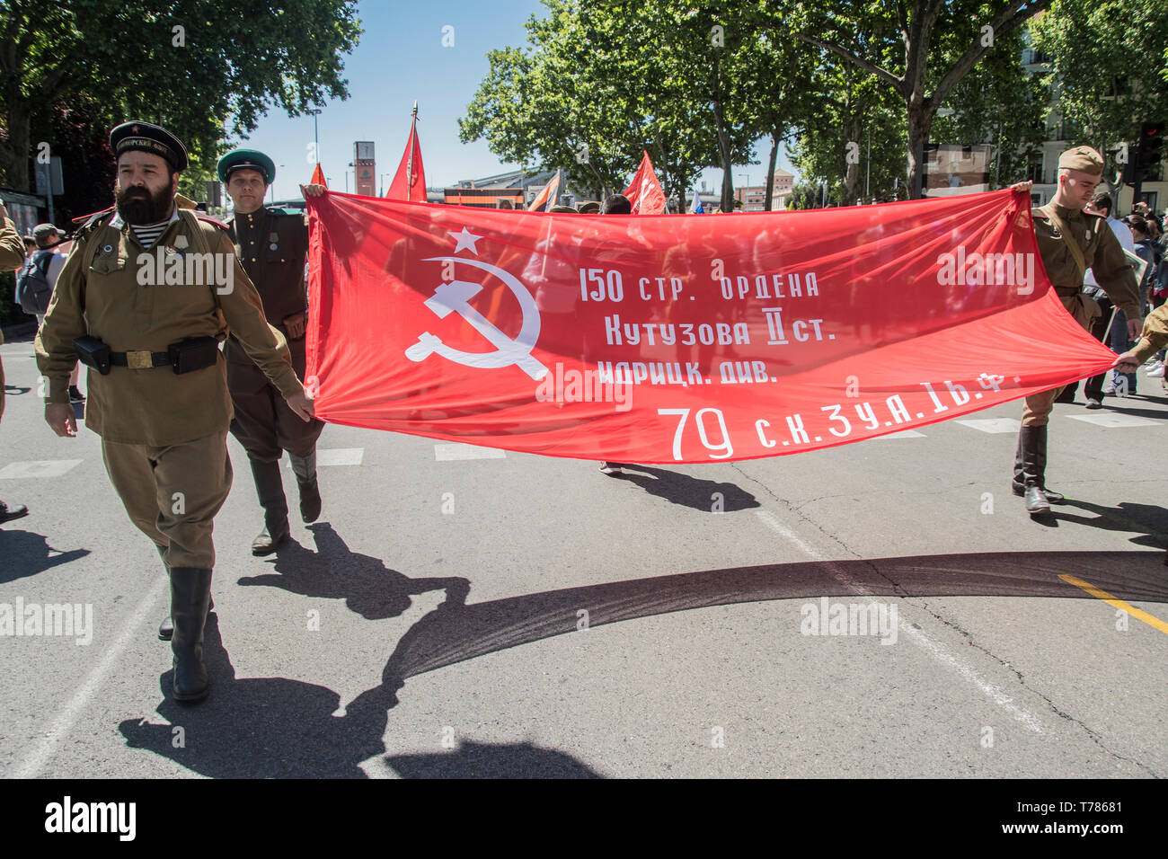 celebration of the Soviet Union in its victory in the Second World War by the Russian Hispano community in Madrid, Spain - Stock Image