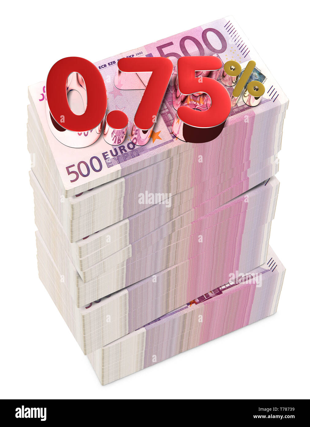 Euro 7.50 Percent  3D rendering on white background.euro, European Currency Unit.(with Clipping Path). - Stock Image