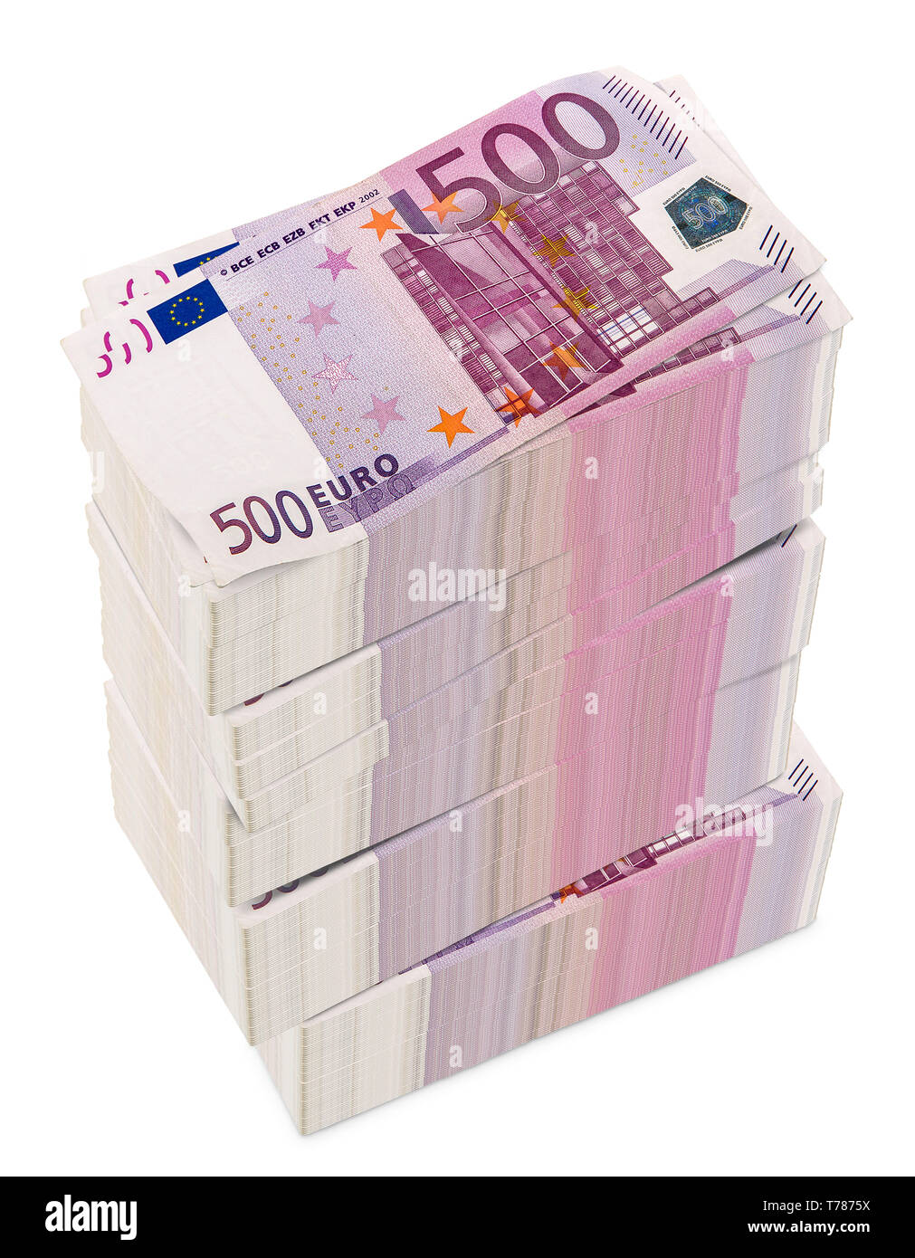 Euro 3D rendering on white background.euro, European Currency Unit.(with Clipping Path). - Stock Image