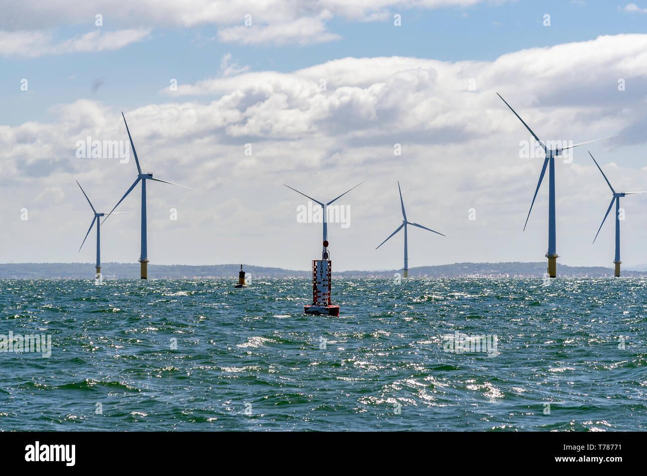 River Mersey windfarm windmills. - Stock Image