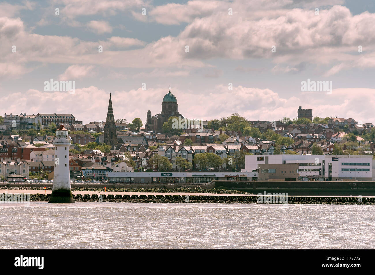 New Brighton, Dome of the Rock church, seaside resort, waterfront. - Stock Image
