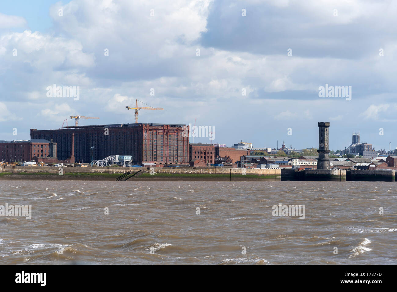 Victorian Stanley Dock tobacco warehouse and the octagonal clock tower. The world's largest brick warehouse Stock Photo