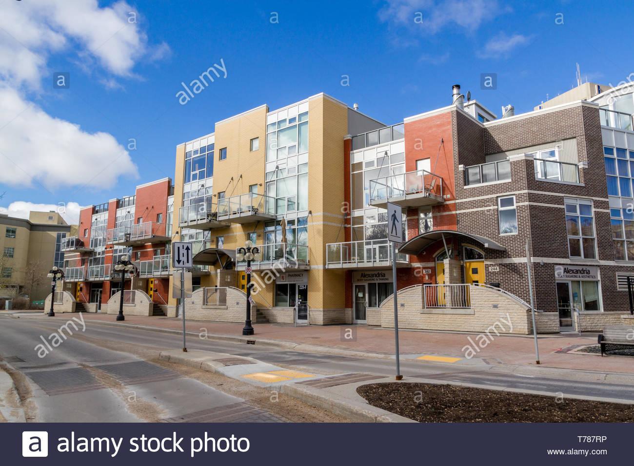 Artsy apartments or condominiums in Winnipeg Manitoba's exchange district. - Stock Image