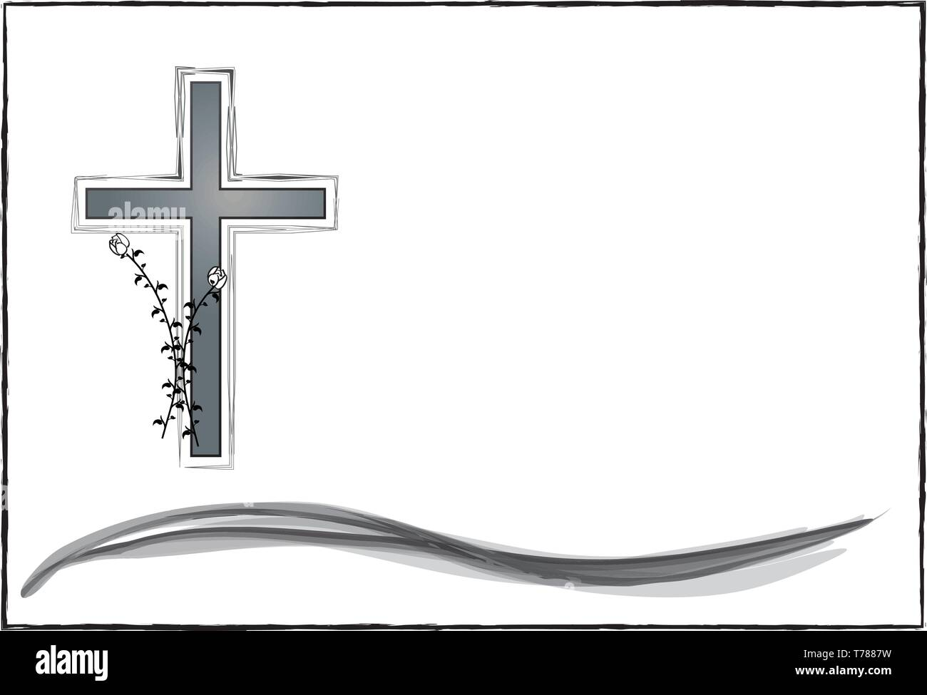 death, dying, annunciation, grave, grief, cross, vector, funeral - Stock Vector