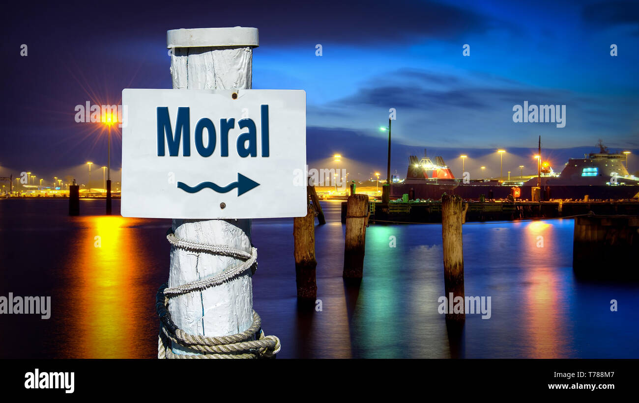 Street Sign the Direction Way to Moral - Stock Image