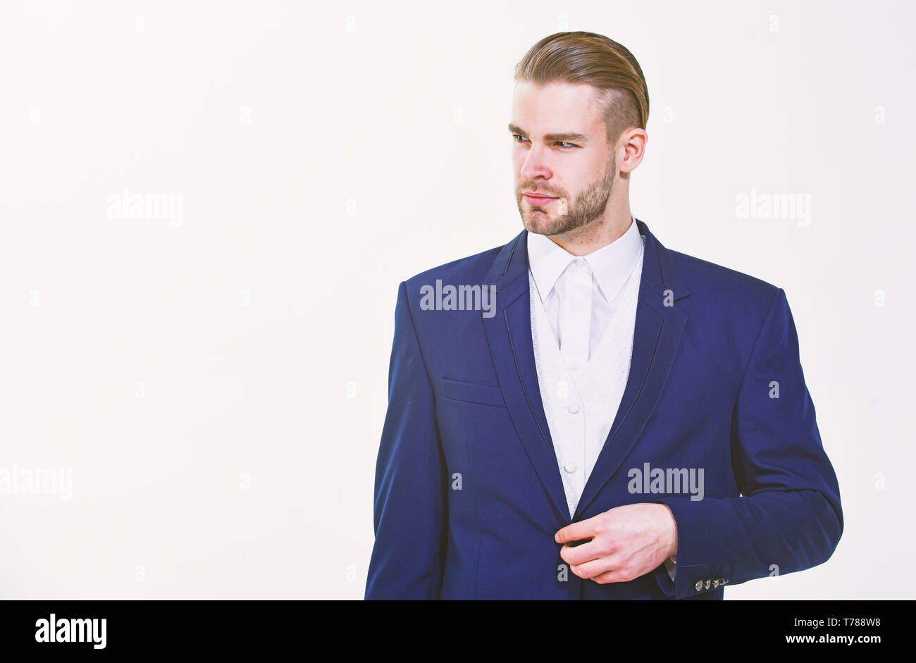 Individual entrepreneur business. Man well groomed business formal suit white background. Business man serious entrepreneur. Handsome office worker. Make business decision and take responsibilities. - Stock Image