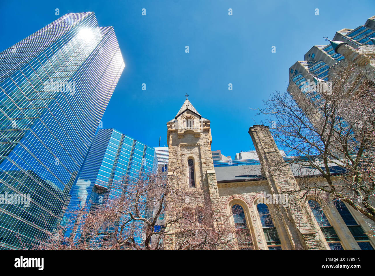 Toronto Saint Andrew Church, a large and historic Romanesque Revival Presbyterian church in downtown Toronto - Stock Image