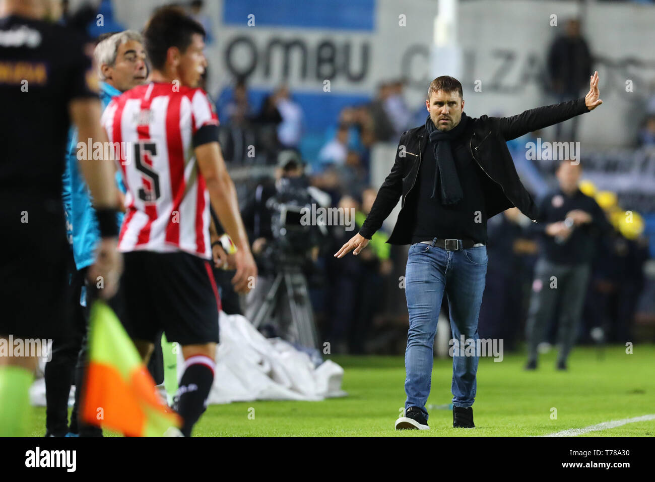 Buenos Aires, Argentina - May 04, 2019: Eduardo Coudet (DT of Racing Club) giving directions in the match against Estudiantes La Plata in Buenos Aires, Argentina - Stock Image