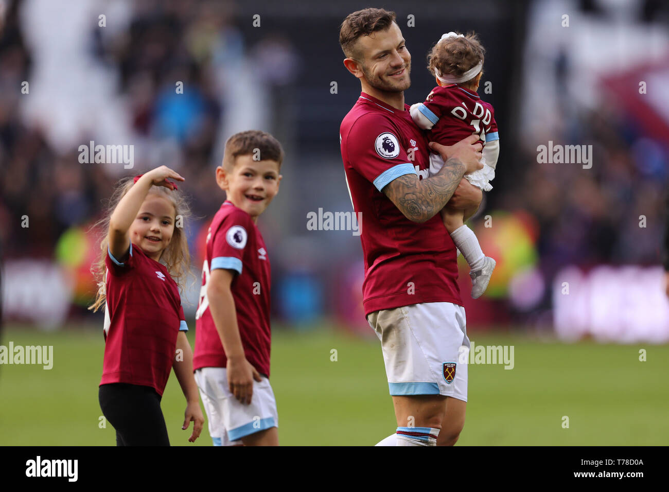 Jack Wilshere of West Ham United and his children during the lap of appreciation - West Ham United v Southampton, Premier League, London Stadium, Lond - Stock Image