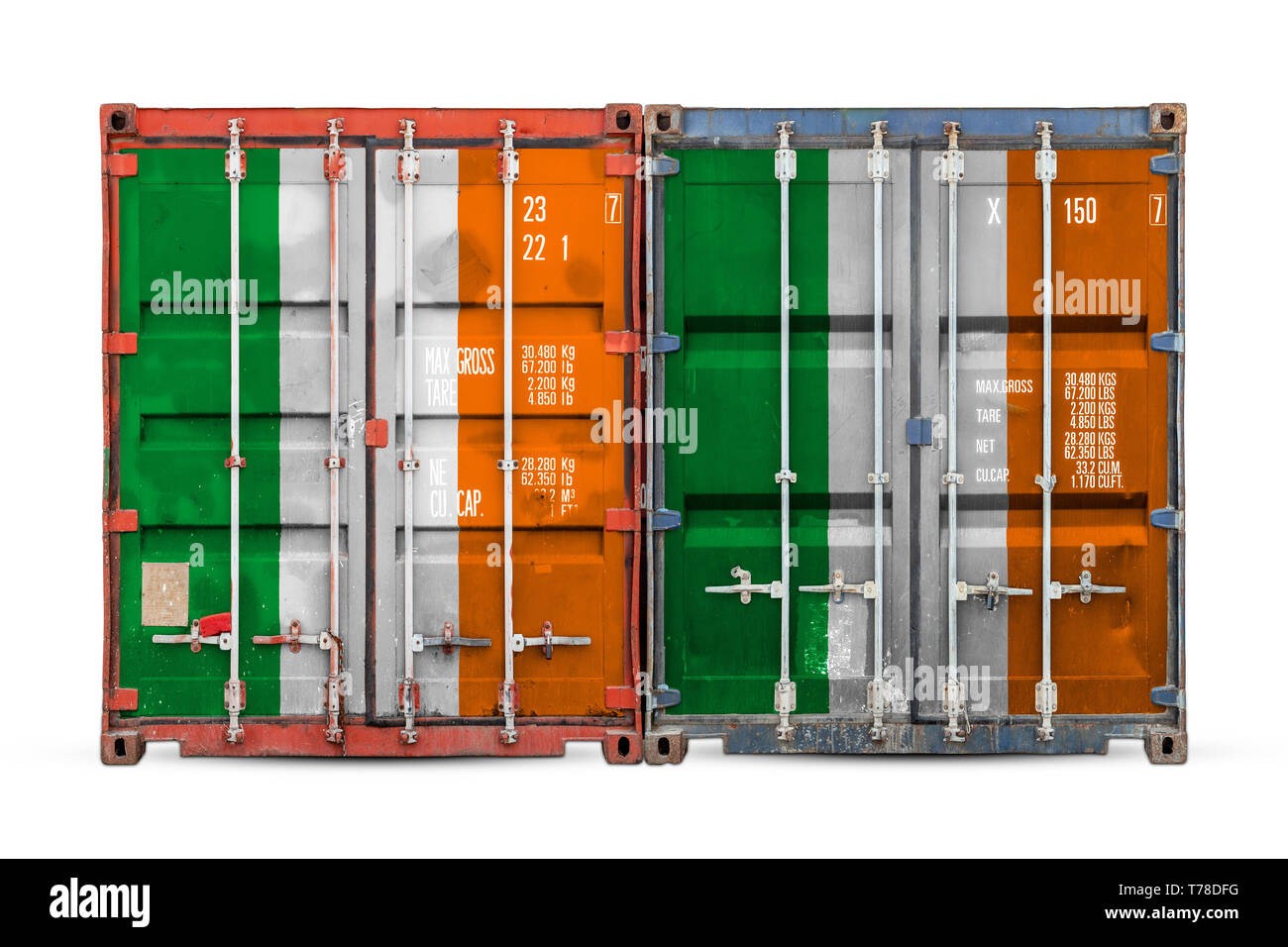 The concept of Ireland  export-import and national delivery of goods. Close-up of the container with the national flag of Algeria on white isolated ba - Stock Image