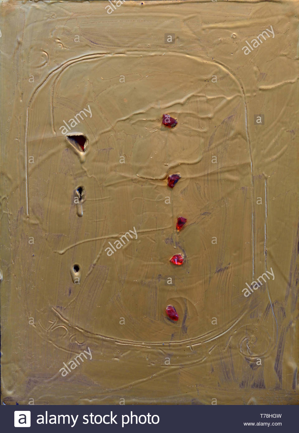 Concetto Spaziale - Space Concept by Lucio Fontana born in 1899 Argentina Argentinian - Stock Image