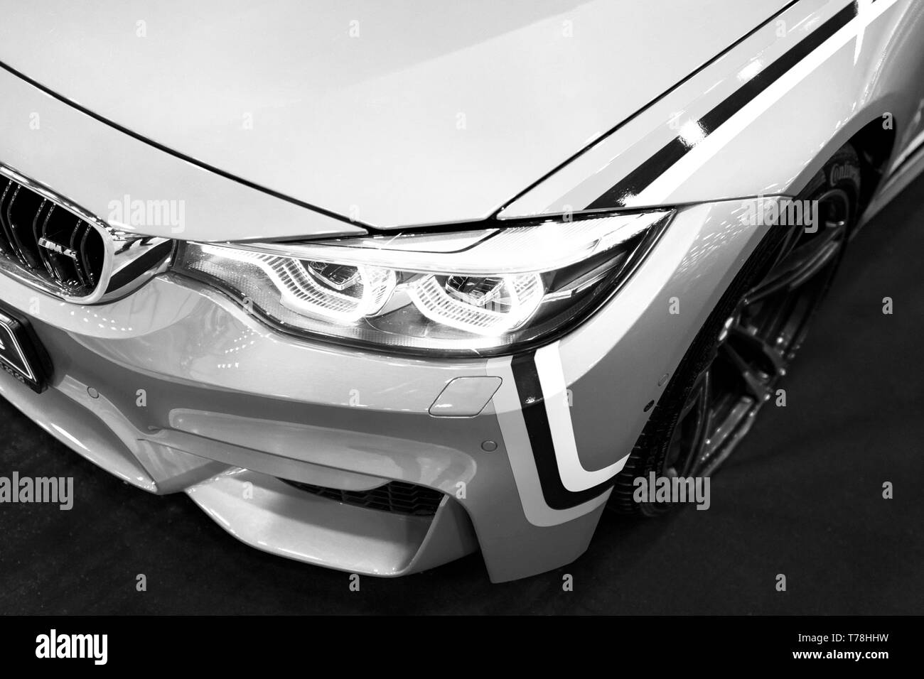 Sankt-Petersburg Russia July 21 2017: Front view of a BMW M4 sports car. M Performance Edition. Car exterior details. Black and white. Photo Taken at  - Stock Image
