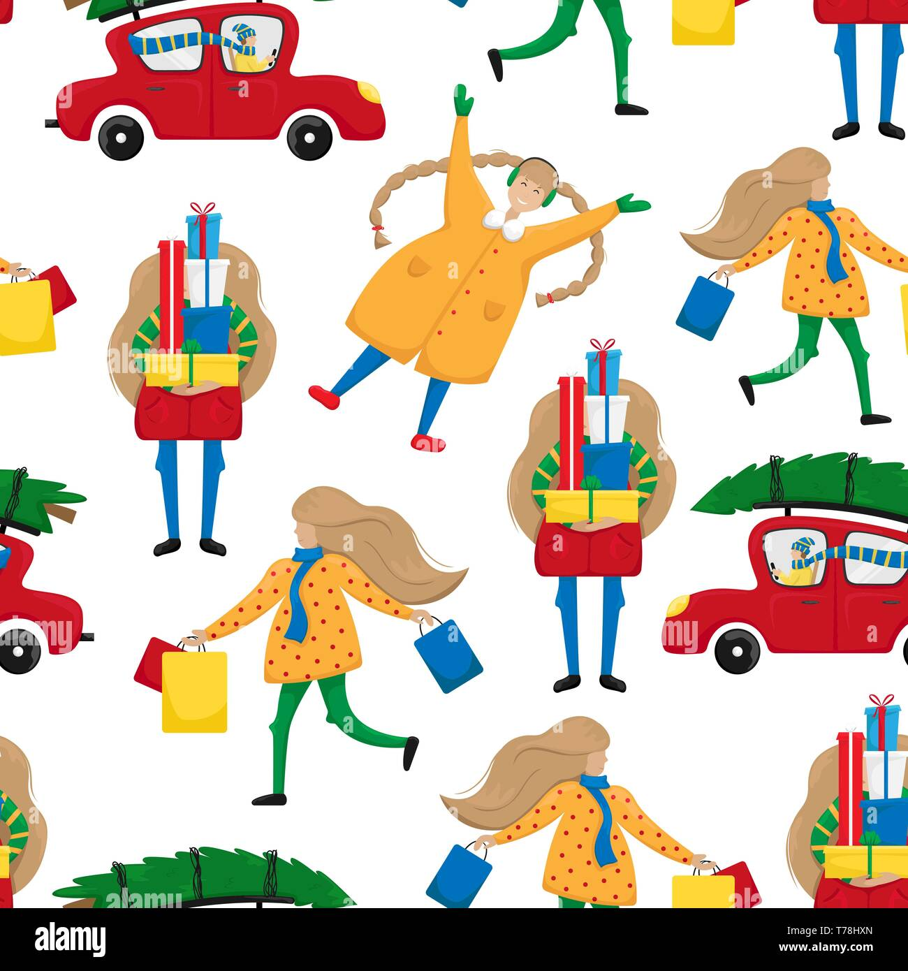 Christmas mood. Seamless pattern with people in fuss for a Christian holiday. Perfect for postcards, wrapping paper, fabrics - Stock Image
