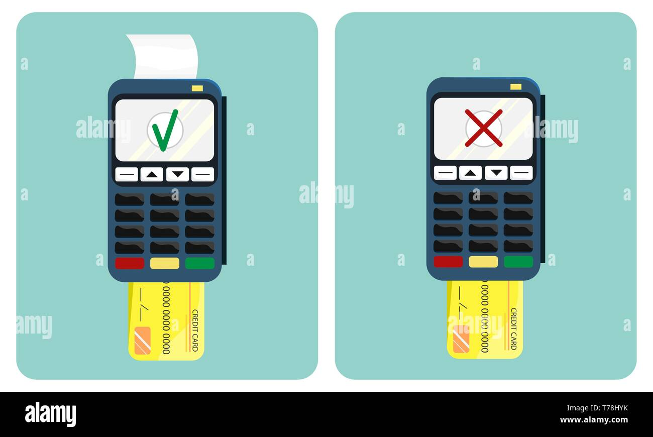 Flat illustration of the payment terminal and credit card. Approved and disapproved transaction. POS terminal. Flat design. Stock Vector