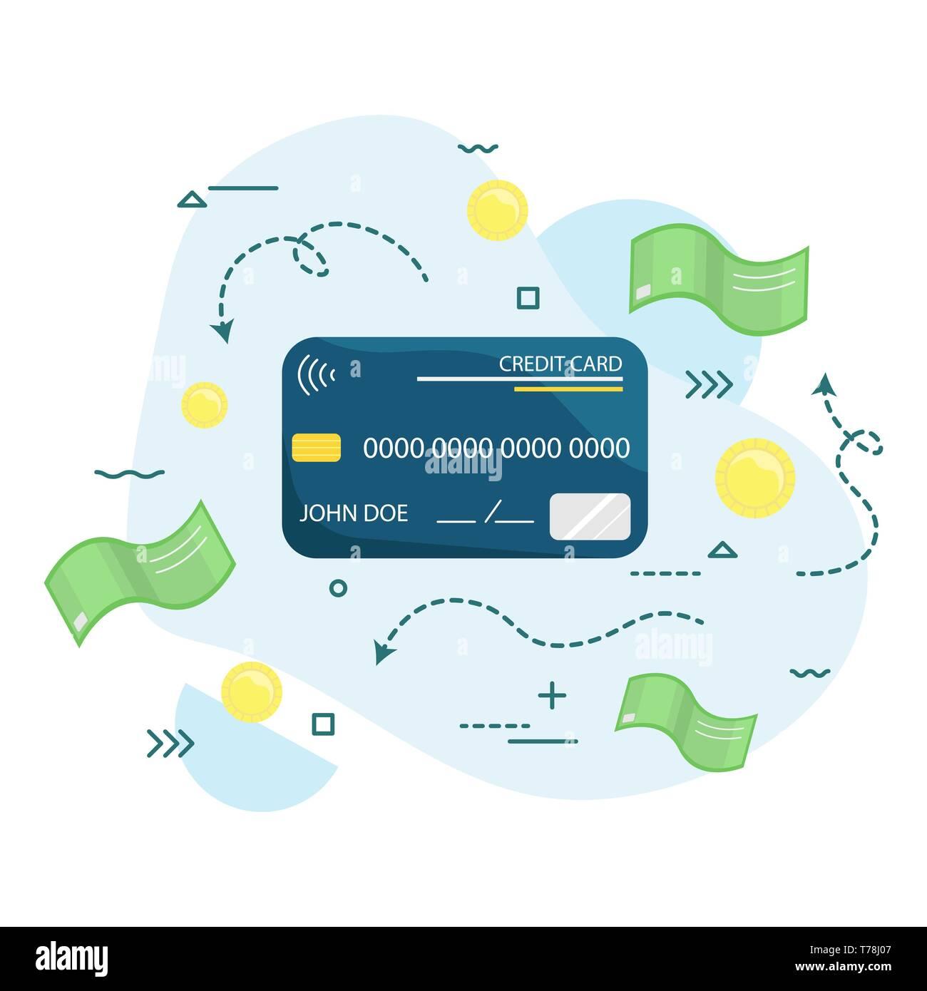 Vector credit card. Payment. Wireless. Modern technology. Flat vector illustration Stock Vector