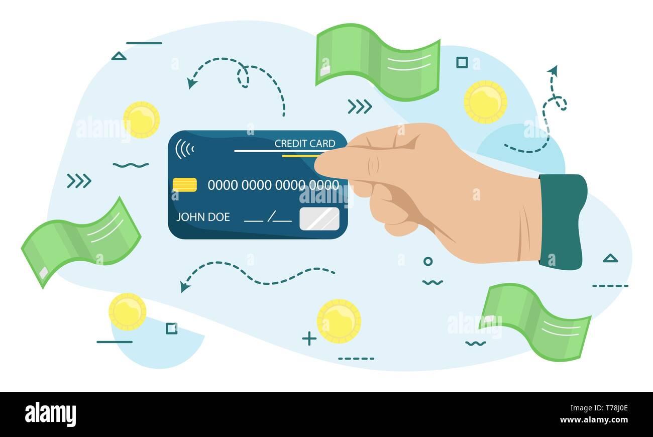 Hand holding credit card. Concept of e-commerce, earnings, atm, debt, swipe, deposit, terminal, identification, expend, shopper. Flat vector illustrat Stock Vector