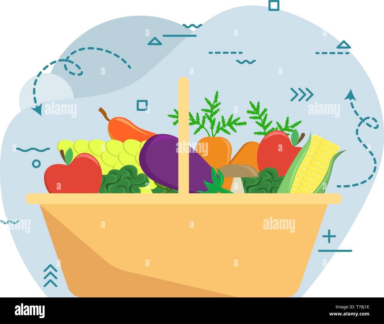 Basket with autumn harvest. Farm fruits and vegetables. Flat vector illustration Stock Vector