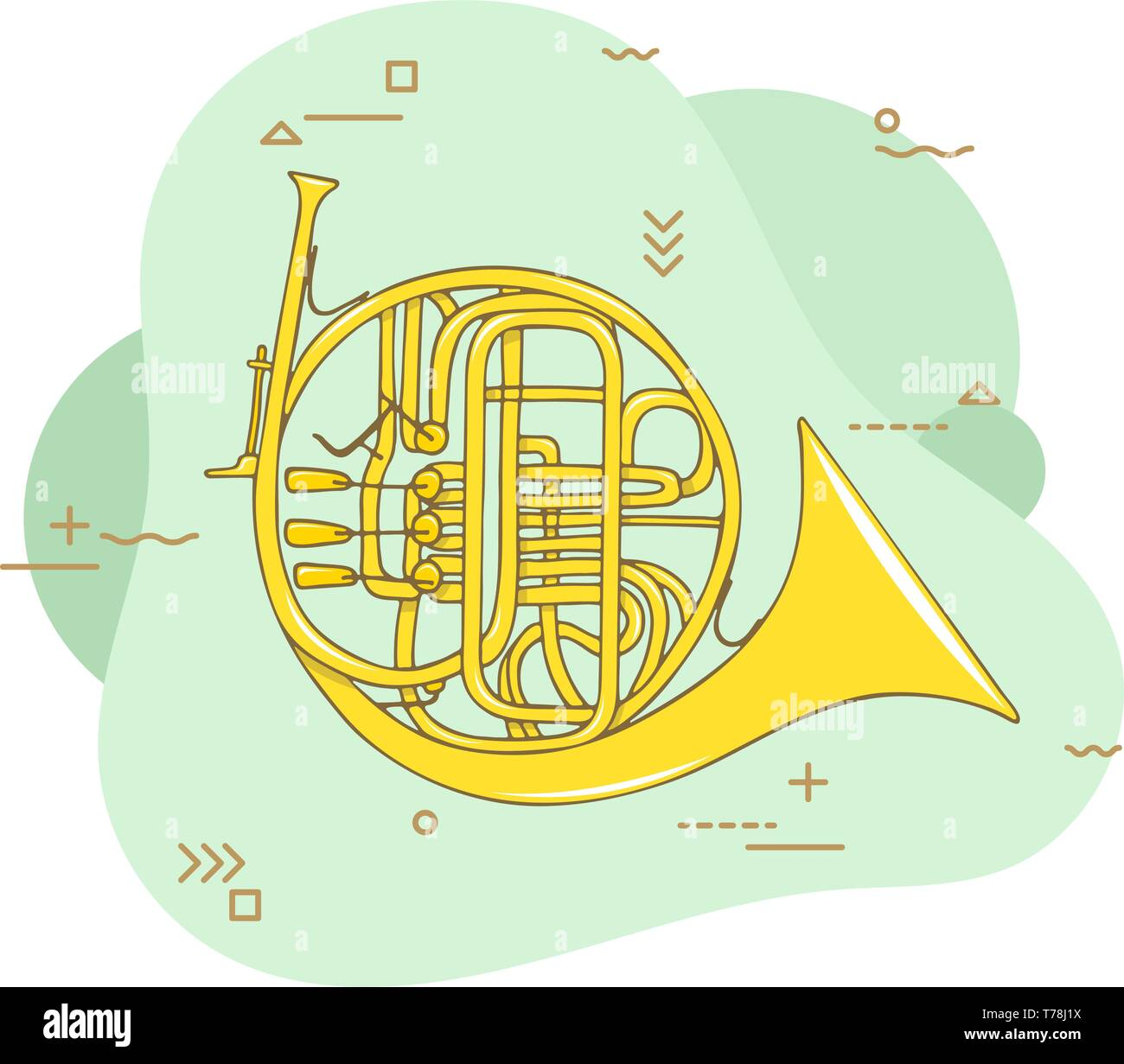Hand drawn french horn. Wind musical instrument. Flat vector hand drawn illustration - Stock Image