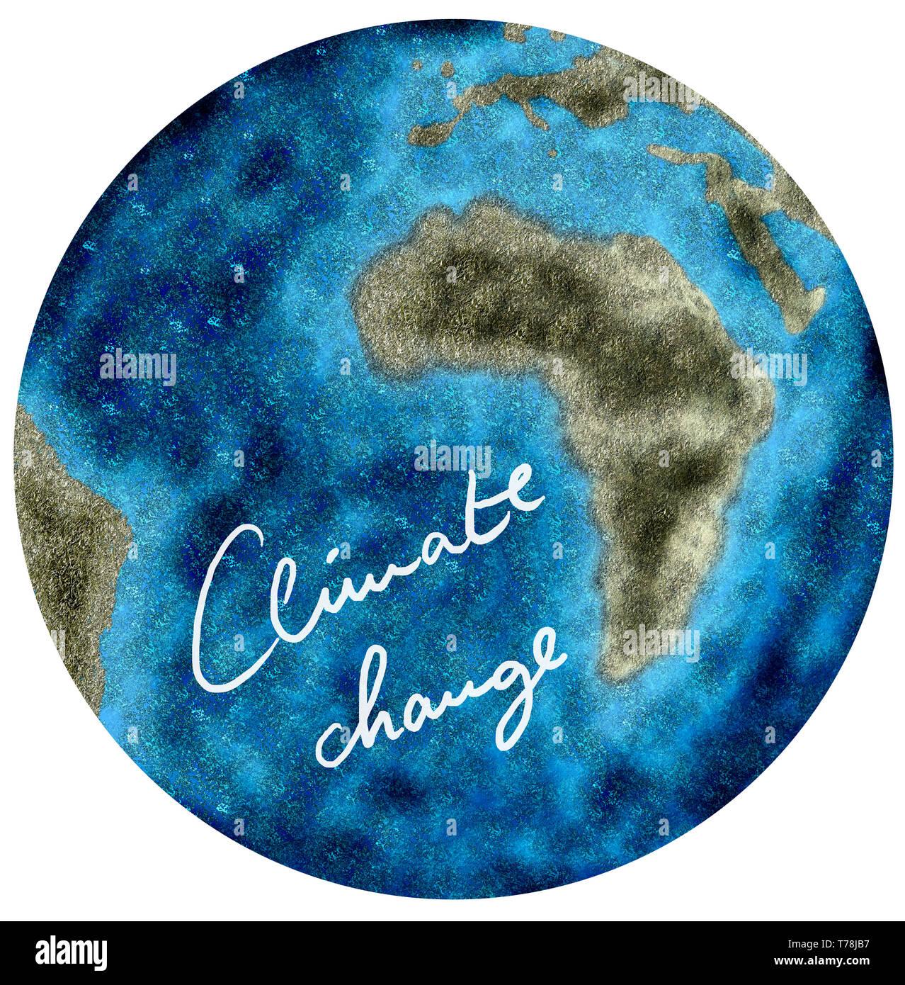 Illustration der Erde, mit verkleinerten Kontinenten und viel Wasser als Folge vom Klimawandel - Stock Image