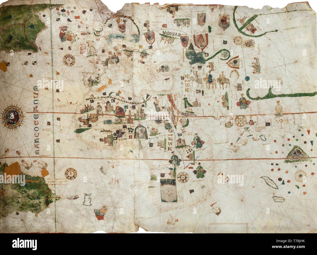 Jerez de los Caballeros, Spain - April 15th, 2019: Map or chart of Juan de la Cosa, fragment. Reproduction at House-Museum of Nuñez de Balboa original - Stock Image