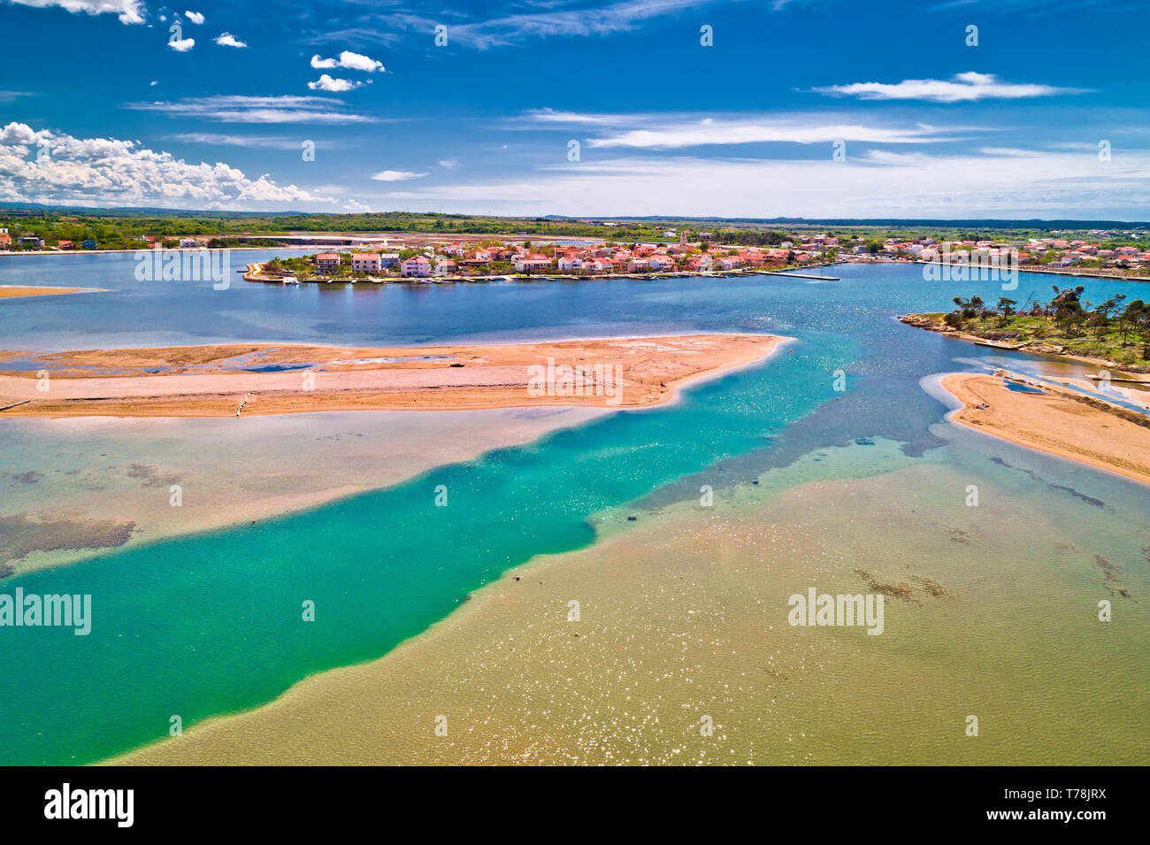 Historic town of Nin laguna and beach sandbars aerial view, Dalmatia region of Croatia Stock Photo