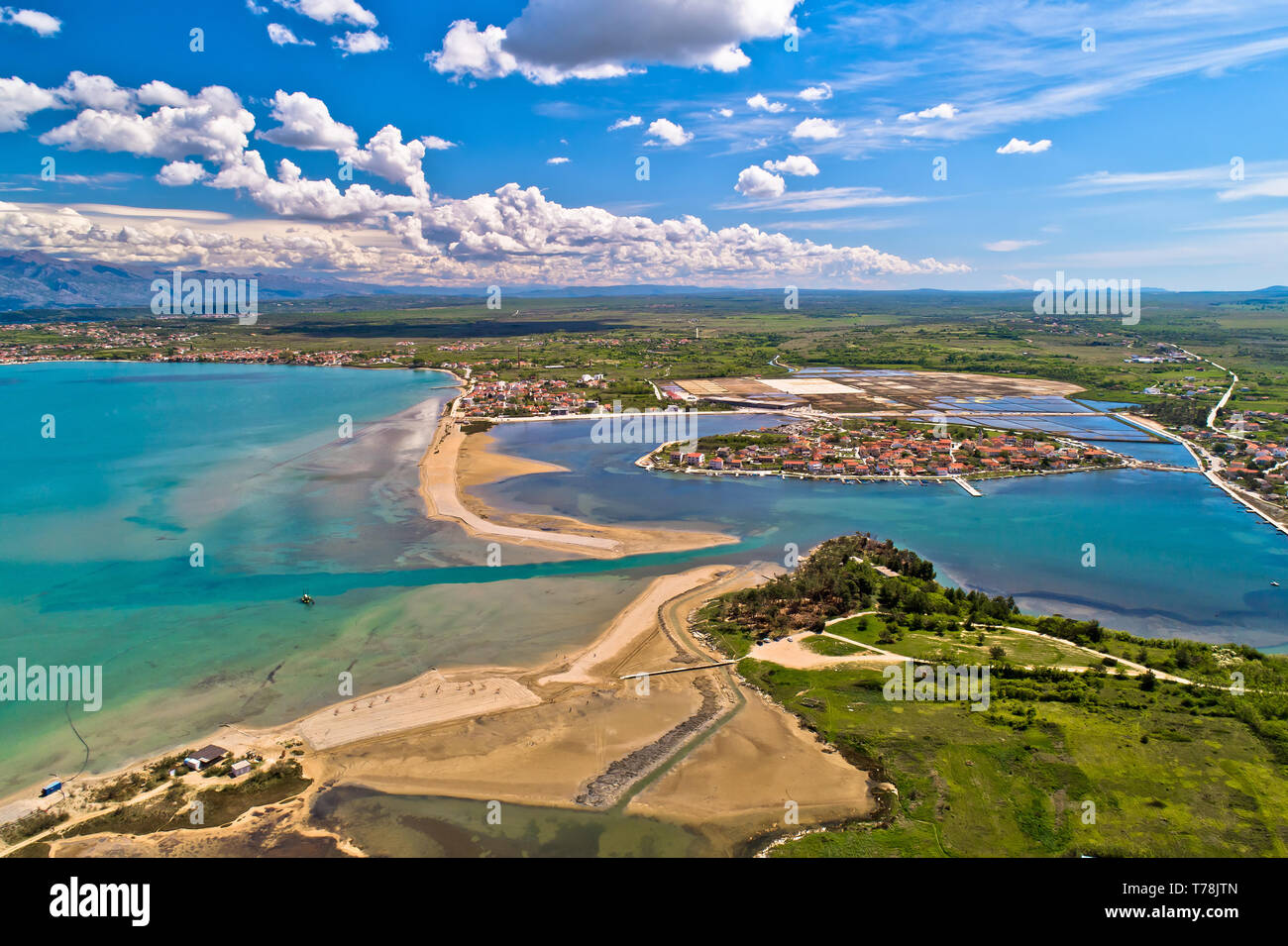Historic town of Nin laguna and beach sandbars aerial view, Ravni Kotari background, Dalmatia region of Croatia Stock Photo